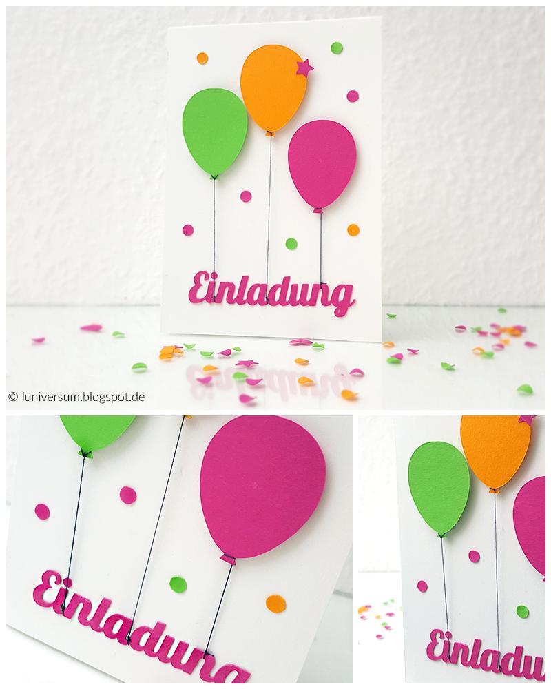 quäär durch's luniversum.: diy: einladungskarte mit bunten luftballons, Einladung