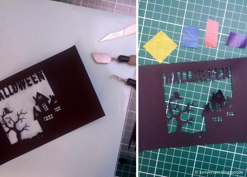 Ausgeschnittenes Motiv und farbiges Transparentpapier